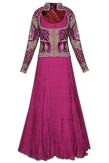 Magenta Purple Embroidered Jacket with Anarkali