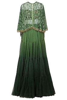 Olive Green Embroidered Cape with Lehenga and Bustier