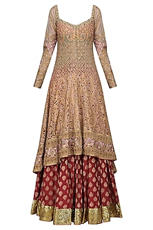 Gold and Maroon Embroidered Anarkali Set by Avdi