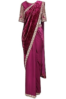 Magenta Purple Embroidered Saree with Blouse