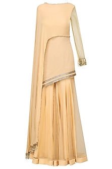 Gold Embellished Tunic with Sharara Pants