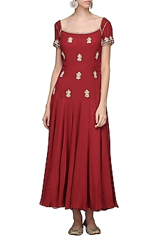 Burgundy Embellished Tunic by Avdi