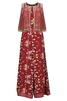 Burgundy Floral Printed Palazzo Pants with Bustier and Embellished Cape