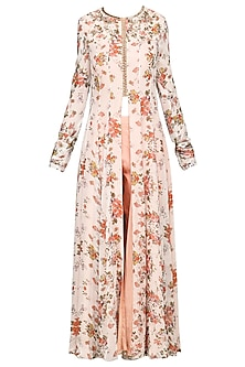 Peach Front Open Floral Tunic with Straight Pants