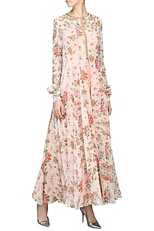 Peach Front Open Floral Tunic with Straight Pants by Avdi