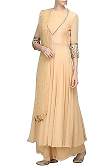 Gold Front Pleated Tunic with Palazzo Pants Set by Avdi