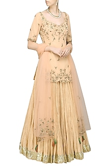 Gold Embroidered Tunic with Lehenga Skirt Set by Avdi