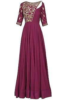 Magenta Embroidered Anarkali Gown