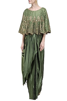 Olive Green Draped Saree with Cape by Avdi