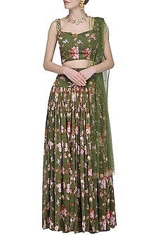 Olive Green Printed Lehenga Set by Avdi