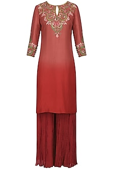 Burgundy Embroidered Tunic with Palazzo Pants and Dupatta by Avdi