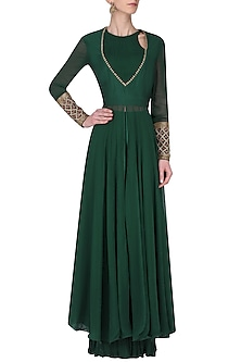 Emerald Green Embroidered Kurta with Crinkled Palazzo Pants Set by Avdi