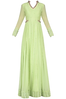Pista Green Embroidered Pleated Anarkali