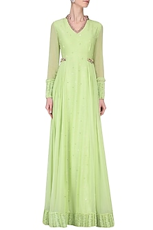 Pista Green Embroidered Pleated Anarkali by Avdi