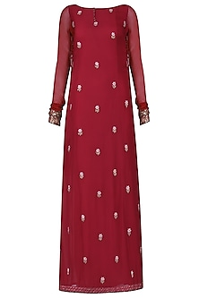 Burgundy Floral Embroidered Kurta with Palazzo Pants Set