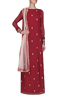 Burgundy Floral Embroidered Kurta with Palazzo Pants Set by Avdi