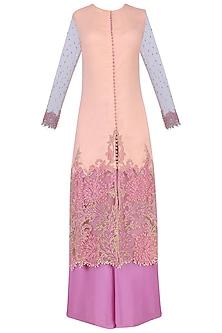 Peach Heat Set Embroidered Kurta with Purple Palazzo Pants Set by Avdi
