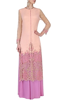 Peach Heat Set Embroidered Kurta with Purple Palazzo Pants Set by Avdi