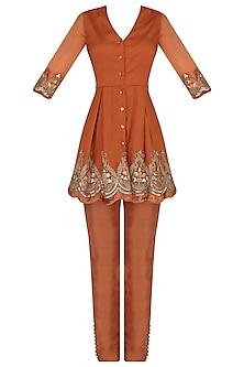 Burnt Orange Embroidered Kurta with Pants Set by Avdi