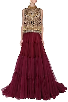 Maroon Tiered Lehenga with Embroidered Cape Set by Avdi