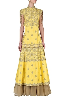 Yellow Embroidered Kurta with Skirt Set by Avdi