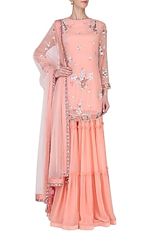 Peach Embroidered Tiered Sharara Pants