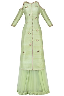 Pista Green Embroidered Jacket with Sharara Pants Set by Avdi