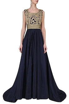 Midnight Blue Embroidered Gown by Avdi