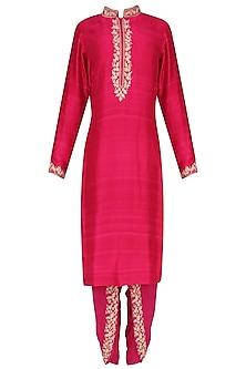 Hot Pink Embroidered Kurta with Dhoti Pants Set