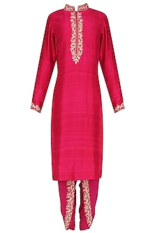 Hot Pink Embroidered Kurta with Dhoti Pants Set by Avdi