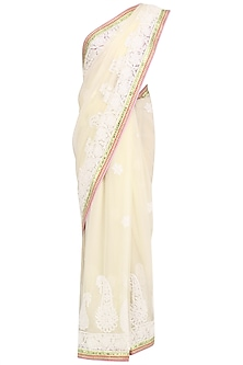 Ivory Chikan Saree with Hand Embroidered Red Blouse by Avdi