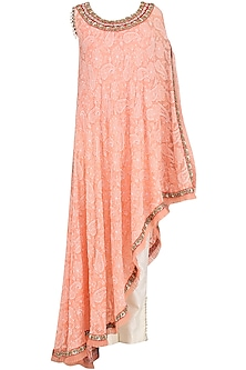Orange Embroidered Chikankari Asymmetrical Cape with Pants