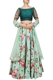Emerald Green Embroidered Blouse with Printed Skirt by Avdi