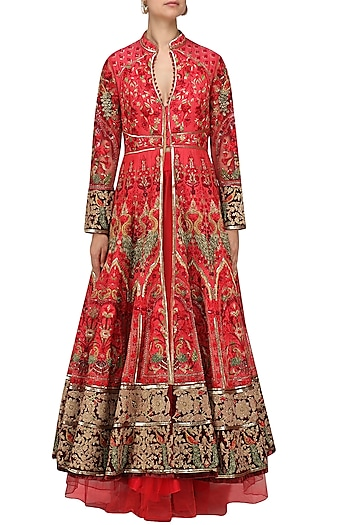 Red Embroidered Jacket Anarkali with Skirt by Avdi