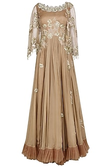 Dusty Pink Embroidered Gown by Avdi