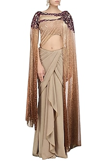Gold Embroidered Textured Saree by Avdi