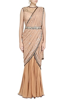 Rose Gold Embroidered Drape Saree by Avdi