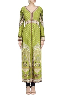 Olive Green Printed Jacket and Pants by Avdi