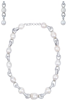 Rhodium plated pearls necklace set by 7th Avenue