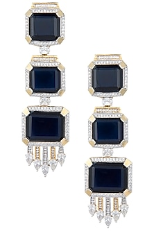Rhodium and gold plated white and blue stone earrings by 7th Avenue