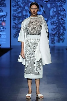 Grey Printed High Waisted Skirt by Aartivijay Gupta