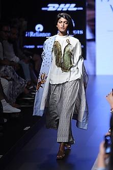 White and grey striped panels pyjama pants by Aartivijay Gupta