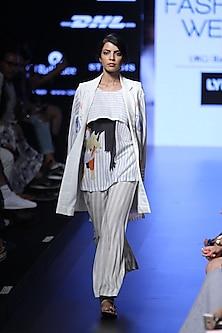 Beige and grey striped pyjama pants by Aartivijay Gupta
