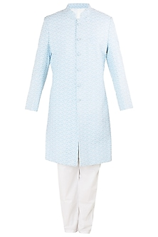 Powder Blue Embroidered Sherwani Set