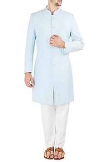 Powder Blue Embroidered Sherwani Set by Ankit V Kapoor