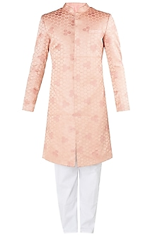 Dusty Rose Embroidered Sherwani Set