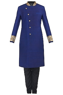 Royal Blue Embroidered Angrakha Sherwani Set