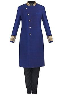 Royal Blue Embroidered Angrakha Sherwani Set by Ankit V Kapoor