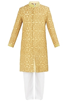 Yellow and Gold Embroidered Sherwani Set