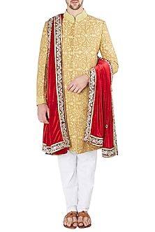 Yellow and Gold Embroidered Sherwani Set by Ankit V Kapoor